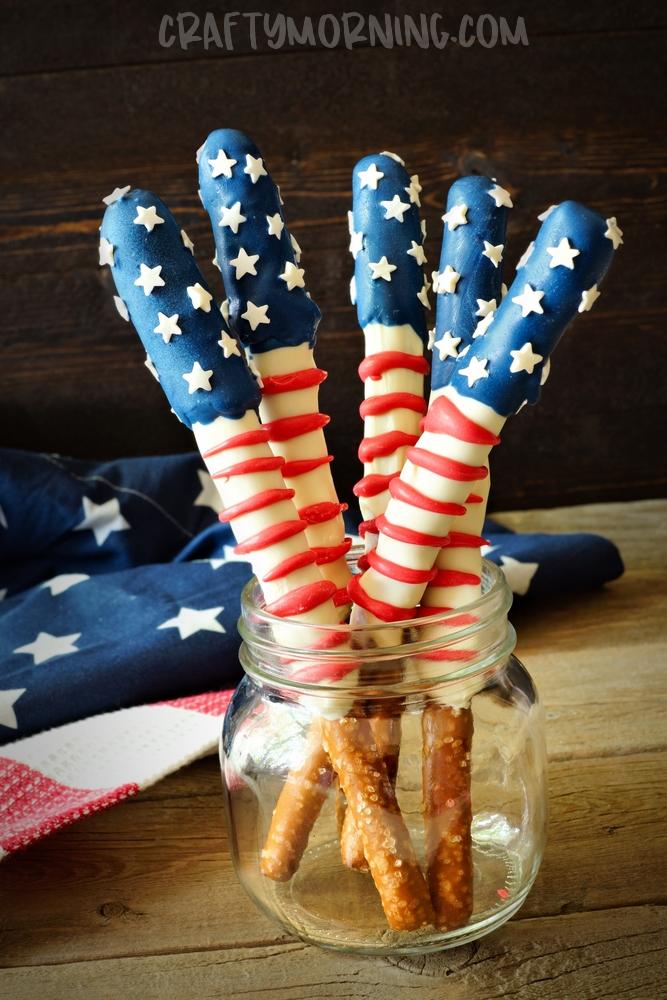 American Flag Pretzel Rods