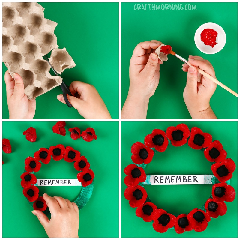 Egg Carton Memorial Day Poppy Wreath