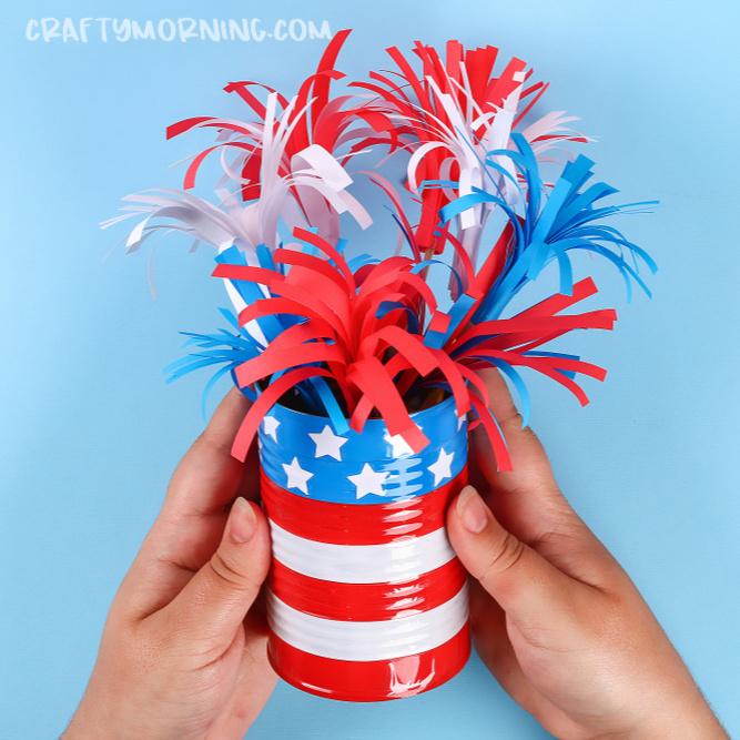 Tin Can Flag/Fireworks Centerpiece