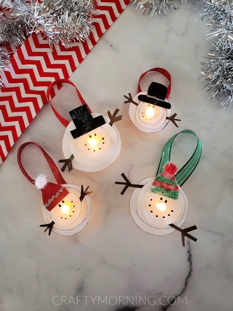 Melted Snowman Tea Light Ornaments Crafty Morning