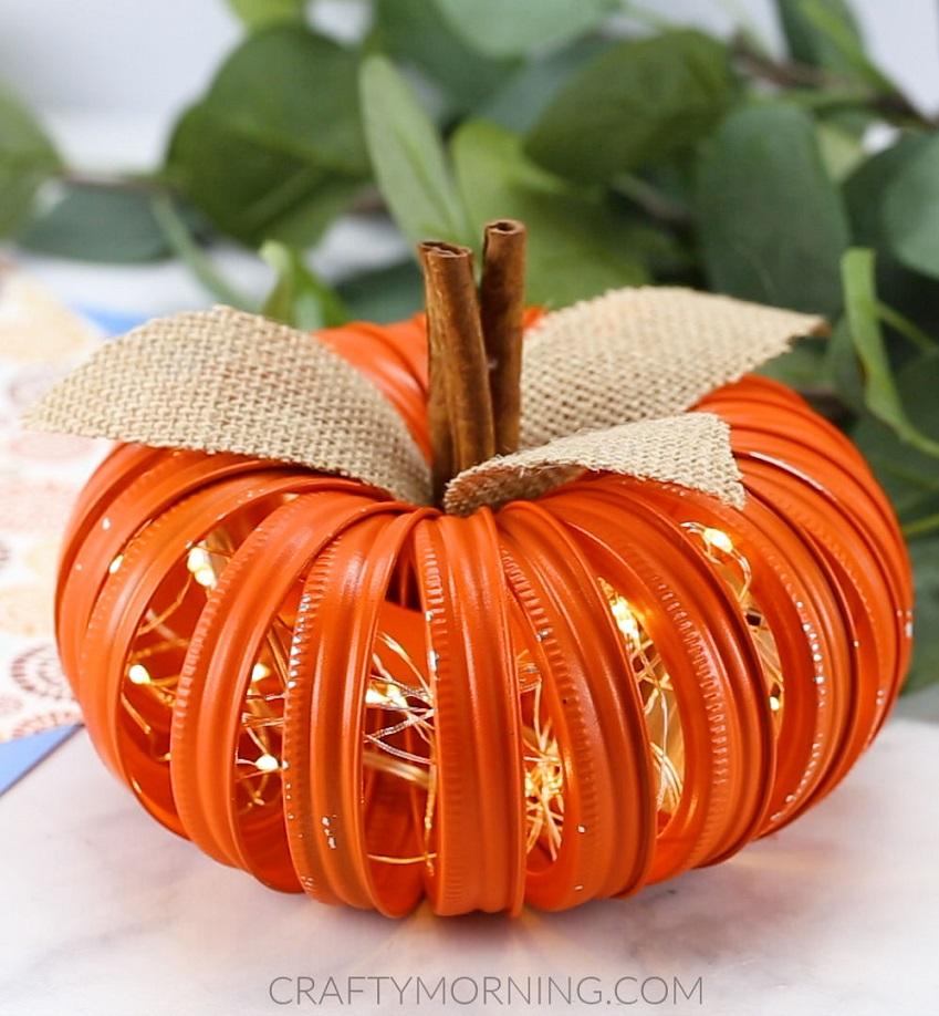 Mason Jar Lid Lighted Pumpkins Crafty