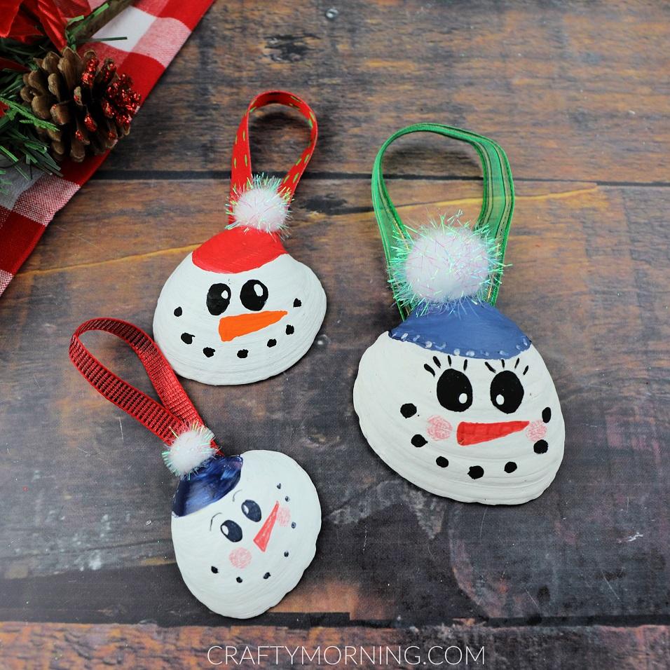 Snowman Seashell Ornaments