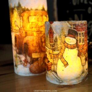 DIY Christmas Napkin Decoupage Candles , Crafty Morning