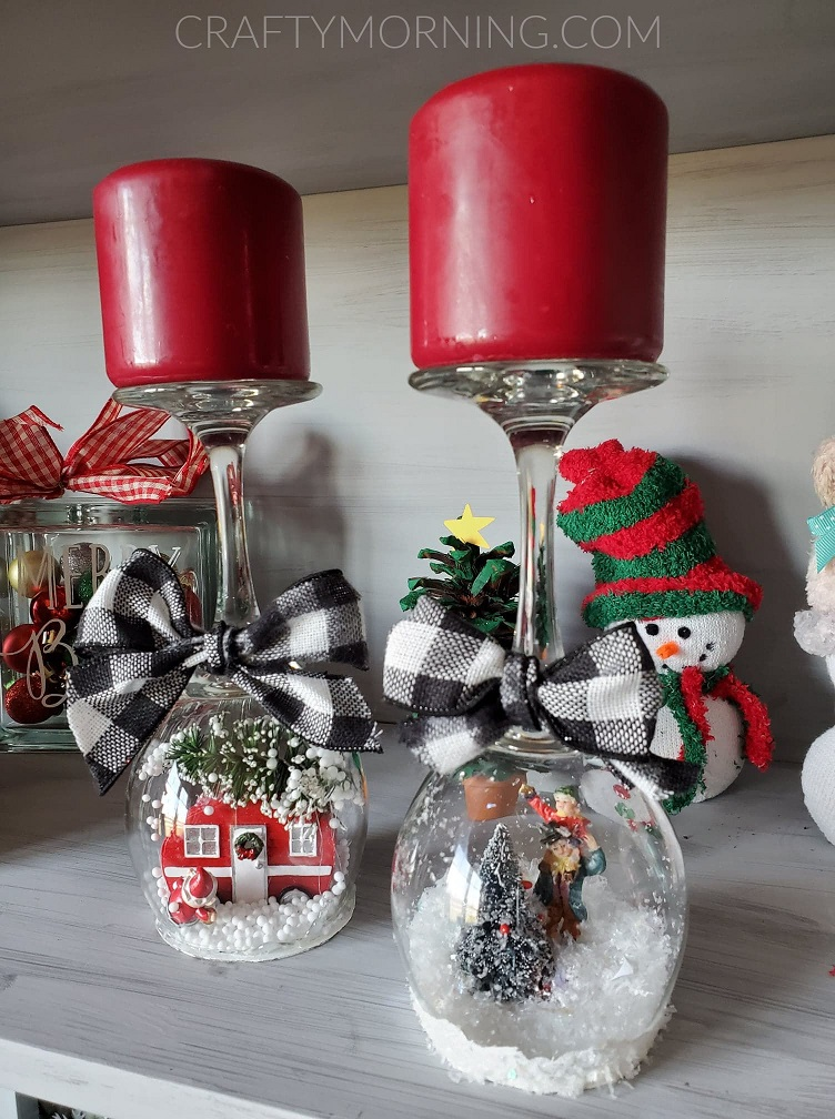 Wine Glass Snow Globe Candle Holders Crafty Morning