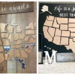 Document your travel by mod podging your photos to these wood map pieces