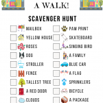 Neighborhood Scavenger Hunt Game Sheet