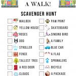 Neighborhood Scavenger Hunt Game Sheet
