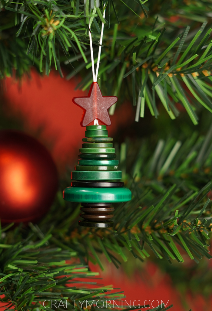 How To Make A Button Christmas Tree Stack Ornament Crafty Morning