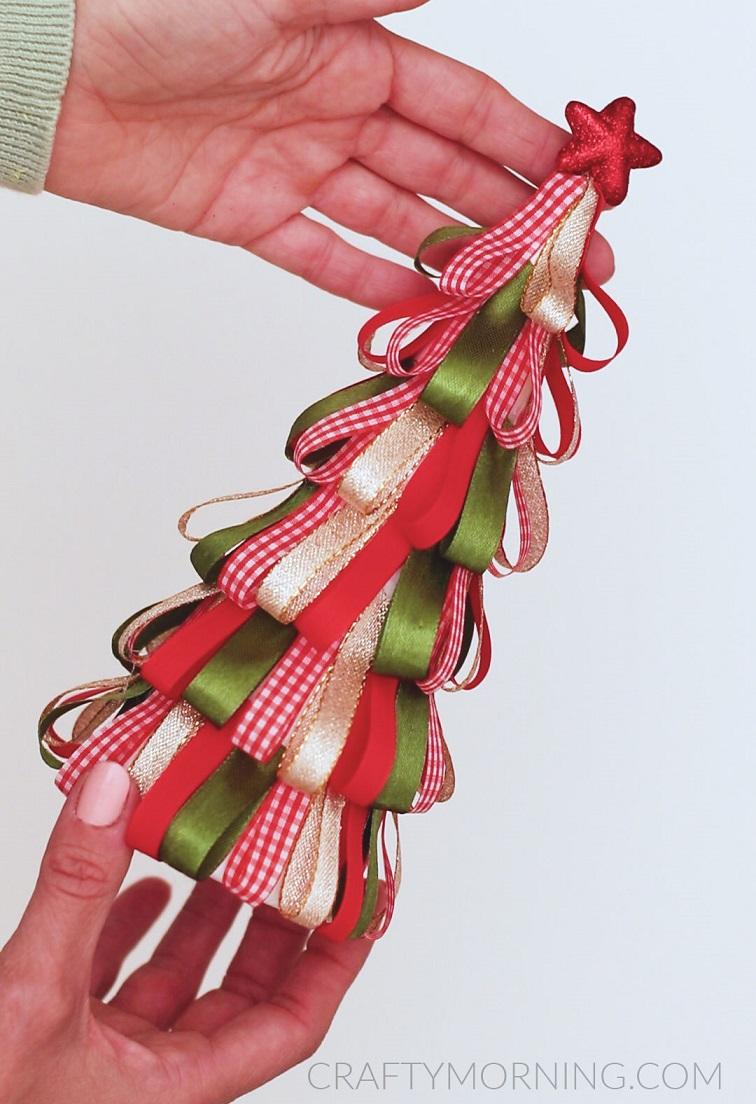 Ribbon Loop Christmas Tree Craft Crafty Morning