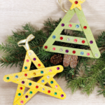 Popsicle Stick Christmas Tree and Star Ornaments