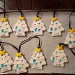 Salt Dough Fingerprint Christmas Tree Ornaments